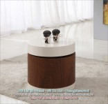 Stunning Round High Gloss Walnut Side/End Table (IJ220)